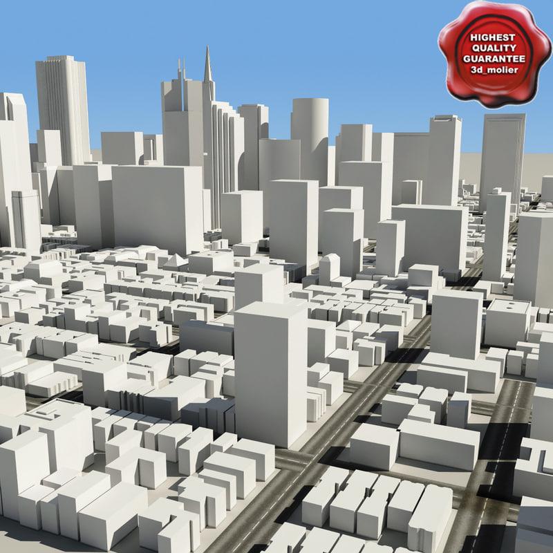 town modelled mapped 3d model