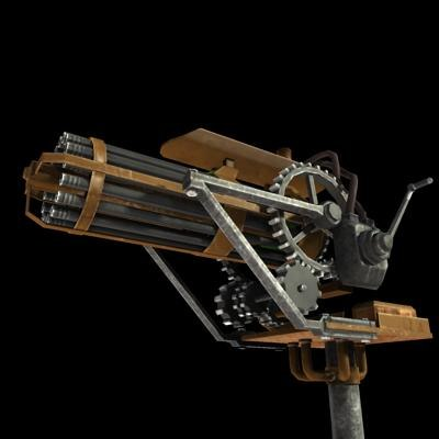 maya steampunk gatling gun