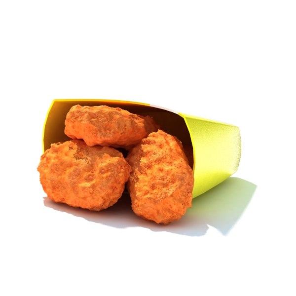 5piece spicy chicken nuggets 3d max
