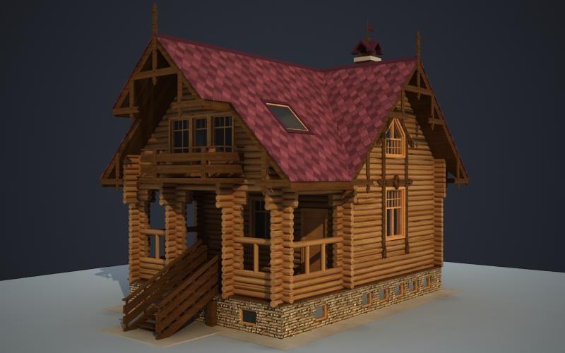 wooden cottage 3d model