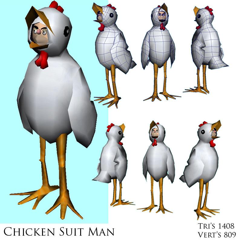 chicken suit man 3d model