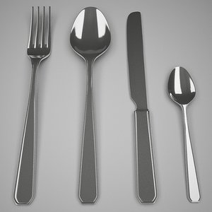 3d model fork spoon knife