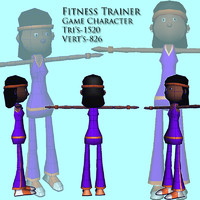fitness woman character 3d model