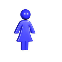 blue woman icon 3d model