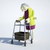 racing granny 3d model