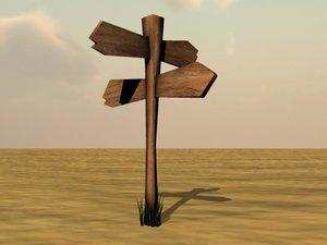 3d model wood road sign