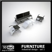 3d design furniture set sofa model