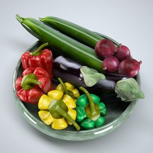 basket vegetables 3d model