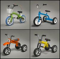 four toy bikes