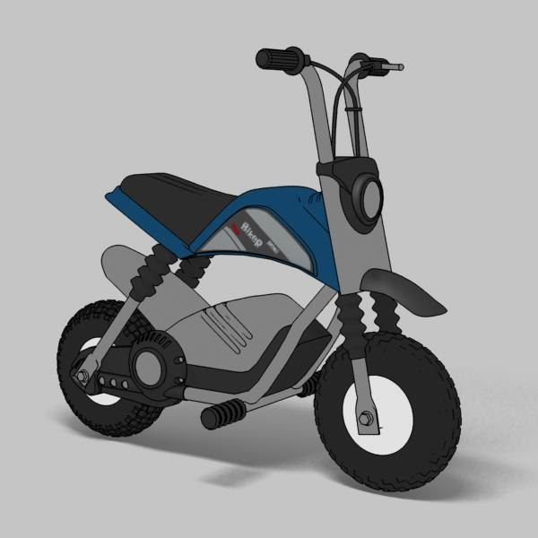 3d electric bike rendered toon