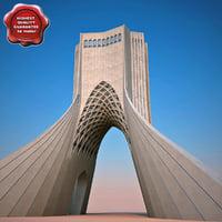 realistic azadi tower 3d c4d