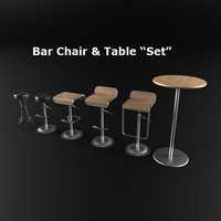 set bar chairs table 3d model