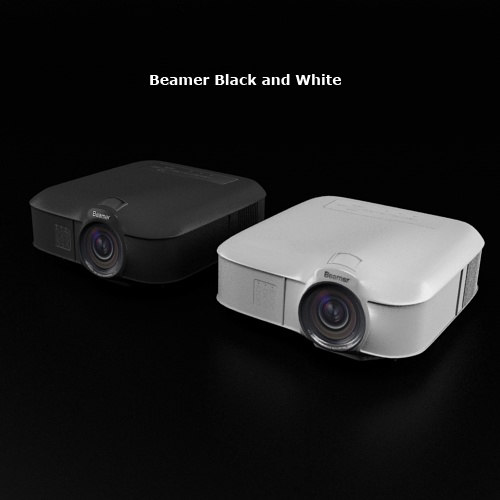beamer black white 3d model