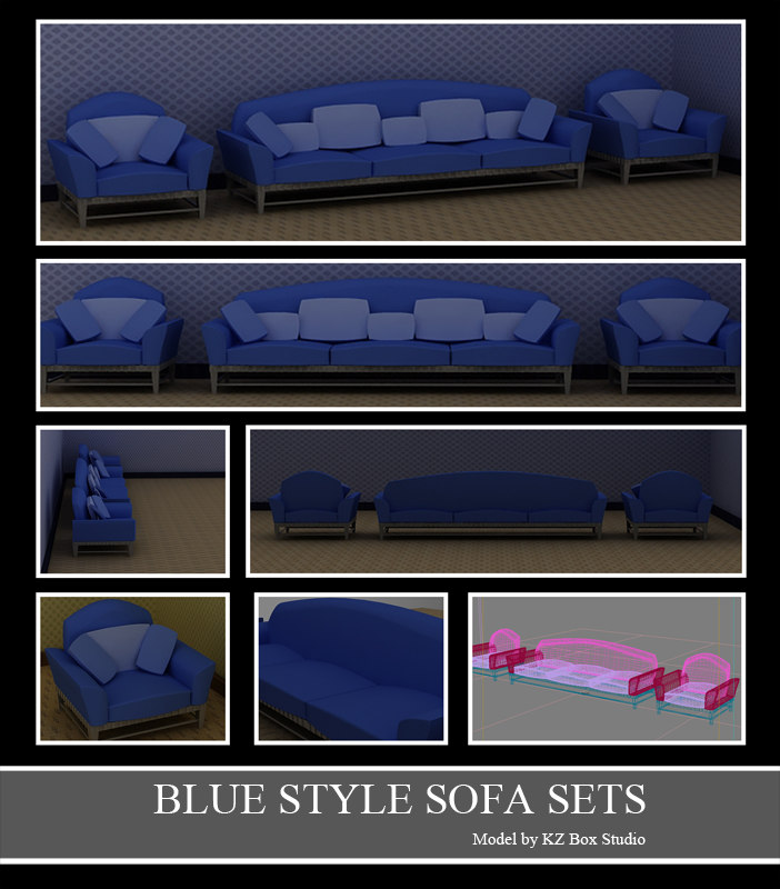 3d 3ds blue style sofa sets