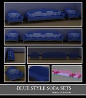 3d 3ds blue style sofa sets