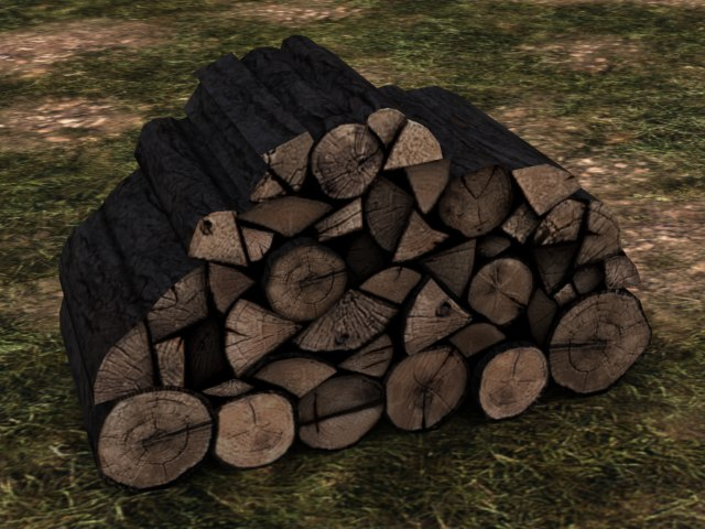 firewood pile polygons 3d model