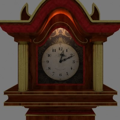 grandfather clock 3d 3ds
