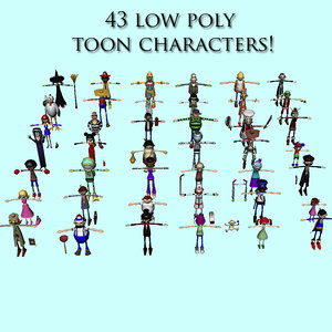 43 cartoon characters 3d 3ds
