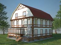 3d three-storey cottage model