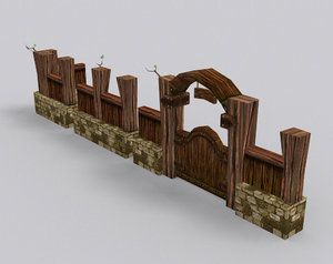 medieval fantasy country fence 3d model