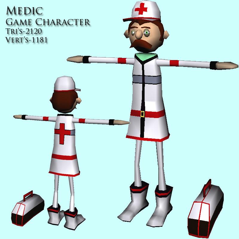 medic character games 3d model
