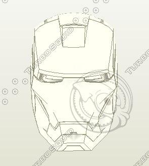 iron man pepakura helmet 3d model