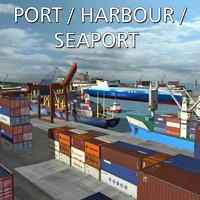 3d model port harbour 6 ships