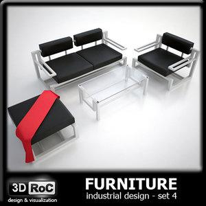 set design furniture sofa 3d model