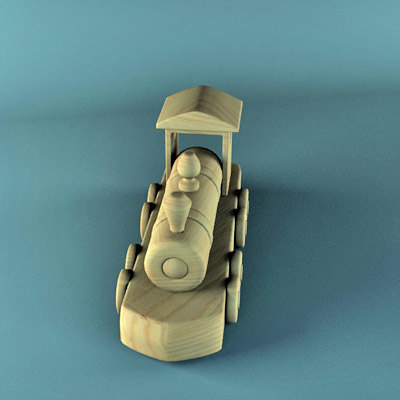 3d model wood toy train