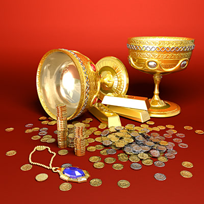 small treasure gold 3d max