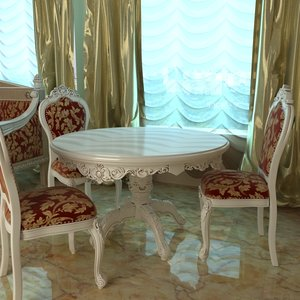 3d model baroque table chair