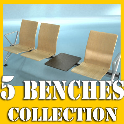 3d model 5 benches
