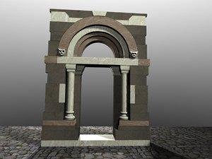medieval portal romanic 3d model