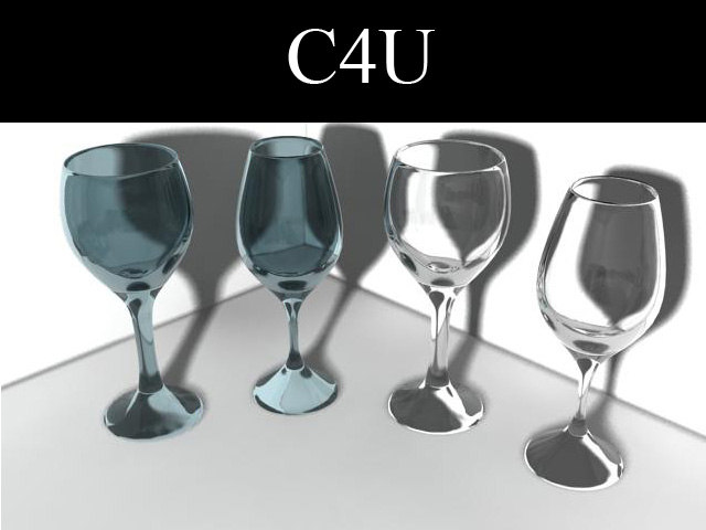 4 wine glasses 3d 3ds