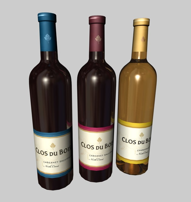 3d model bottles clos du bois