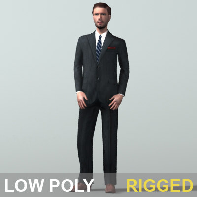 max business man character rigged