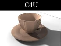 3d cup plate tea set model