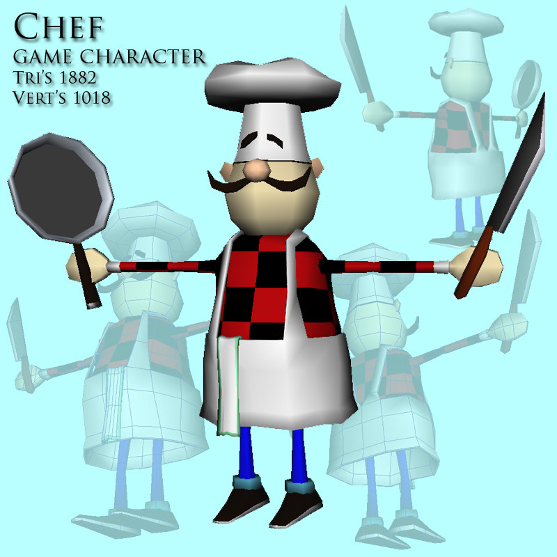3d chef character games model
