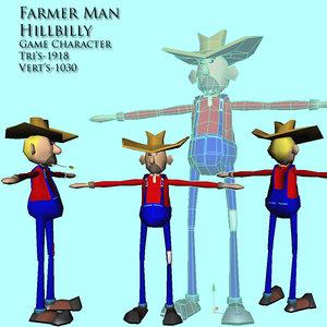 farmer hick character 3d model