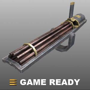 old western machine gun obj
