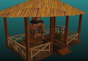 table barbeque wood 3d model