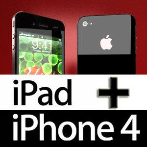 realistic iphone 4 ipad 3d model