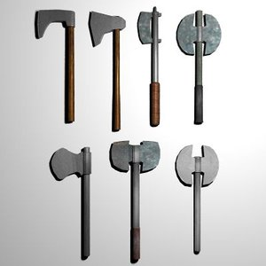3d model 13 medieval axes clubs