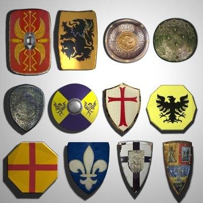 3d 12 medieval shields