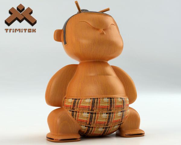 realistic mimushi figurine 3d model