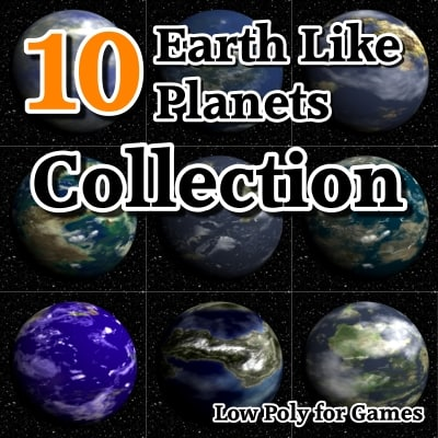 3d 10 earth planets model