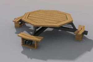 picnic table octagon 3d 3ds