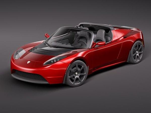 tesla roadster 2010 sport 3d model