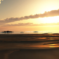 sunset beach scene vue 3d vue