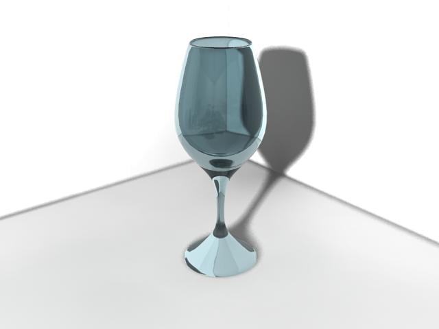 3d blue wine glass